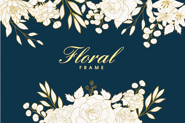 Design cadre floral dessiné à la main élégante