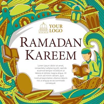 Design carré ramadhan dans un style design plat