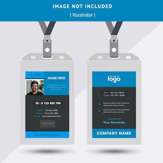 Design de carte d'identité simple bleu