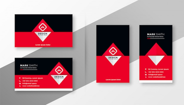 Design de carte de visite rouge et noir élégant