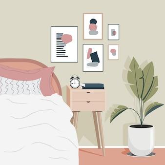 Design de chambre à coucher moderne et confortable intérieur scandinave. décoration murale contemporaine.