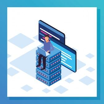 Design coloré de big data avec un homme assis sur des serveurs de données, design coloré