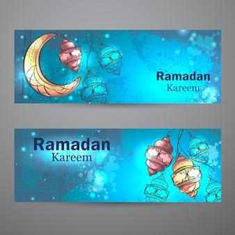 Le design coloré est décoré de lampes et de croissant de lune