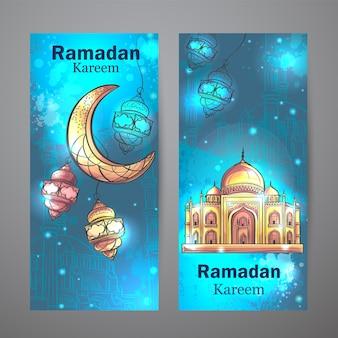 Le design coloré est décoré de mosquée et de croissant de lune