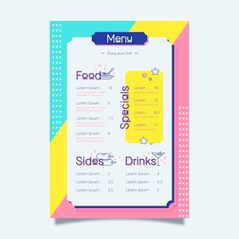 Design coloré pour le modèle de menu de restaurant
