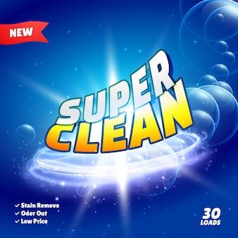 Design de concept d'emballage de produits de nettoyage et de détergents