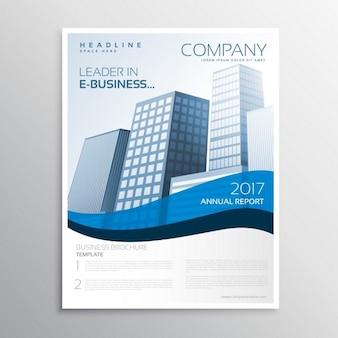 Design créatif dépliant d'affaires avec la vague bleue et l'espace pour votre texte