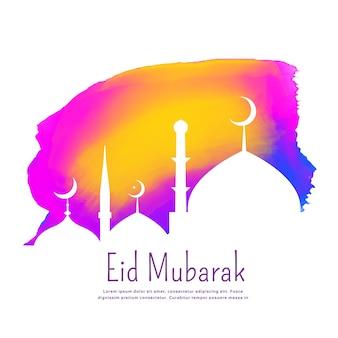Design créatif du festival eid avec effet d'encre coloré