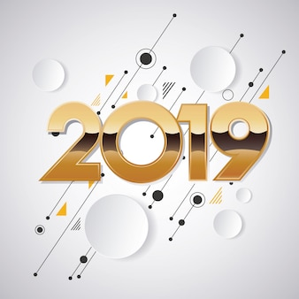 Design créatif du nouvel an 2019 pour la conception et l'arrière-plan de vos éléments