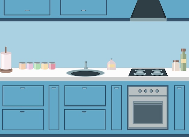 Design de cuisine bleu élégant avec plaque de cuisson, évier et réfrigérateur intégrés. dessin vectoriel