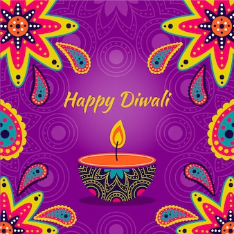 Design dessiné à la main diwali avec bougie