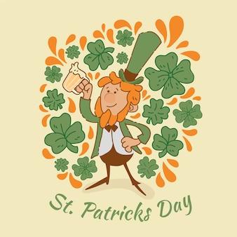 Design dessiné à la main st. patrick's day avec trèfle