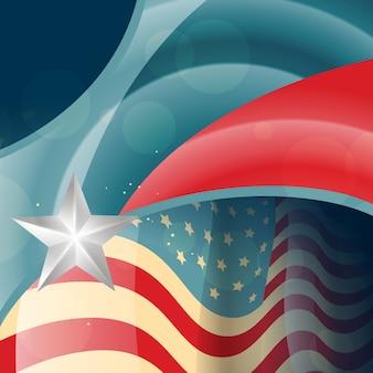 Design de drapeau américain de style rétro