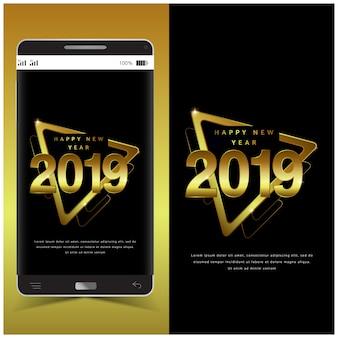 Design du nouvel an doré avec style triangle