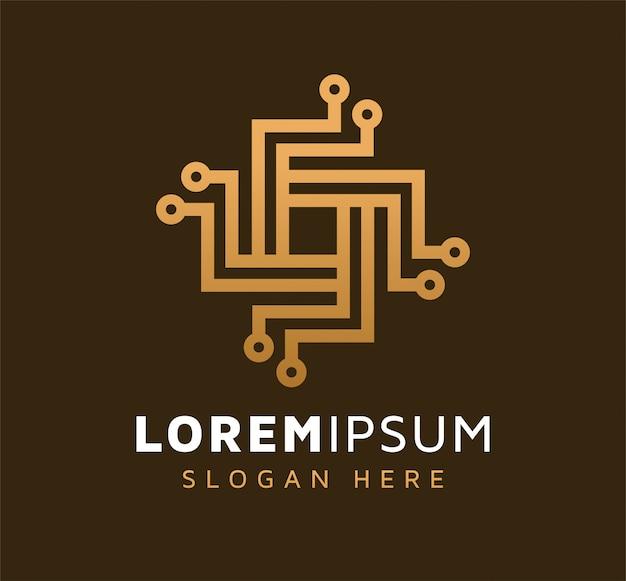 Design élégant de logo de technologie monoline