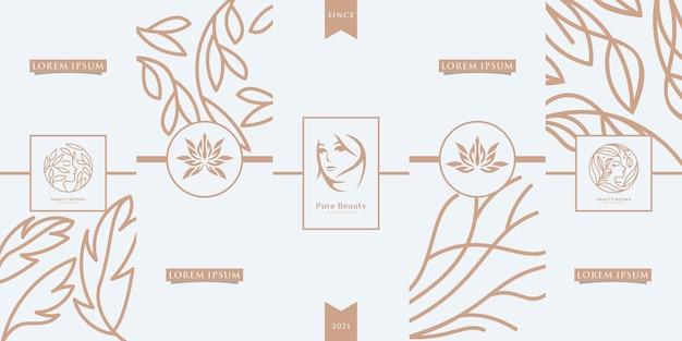 Design d'emballage doré de luxe, fleur, nature, floral, beauté femme, bien-être, mignon, cannabis, motif.