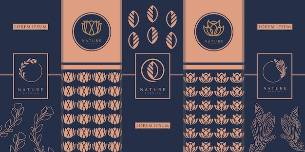 Design d'emballage doré de luxe, fleur, nature, floral, olivier, motif. inspiration de conception de logo