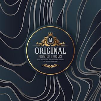 Design d'emballage de luxe haut de gamme avec étiquette emblème héraldique