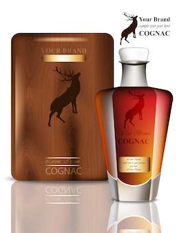 Design d'emballage old vintage cognac. produit réaliste avec étiquette de marque. place aux textes
