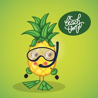 Design d'été avec ananas prêt à plonger