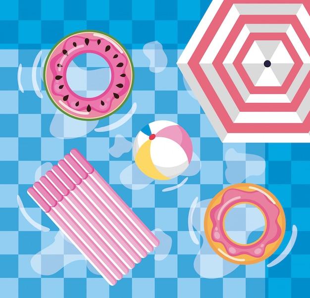 Design d'été avec piscine, parasol et flotteur