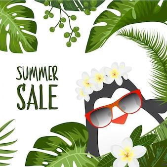 Design d'été tropical avec un pinguant mignon