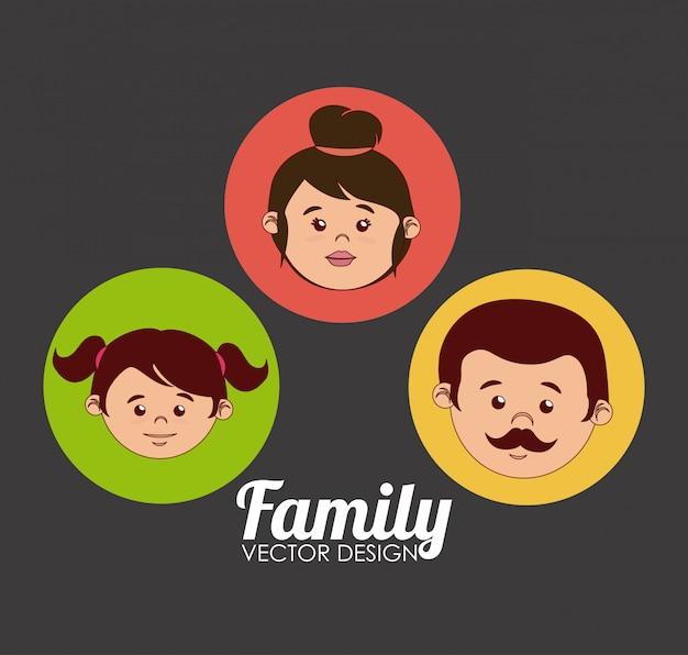 Design familial sur fond gris