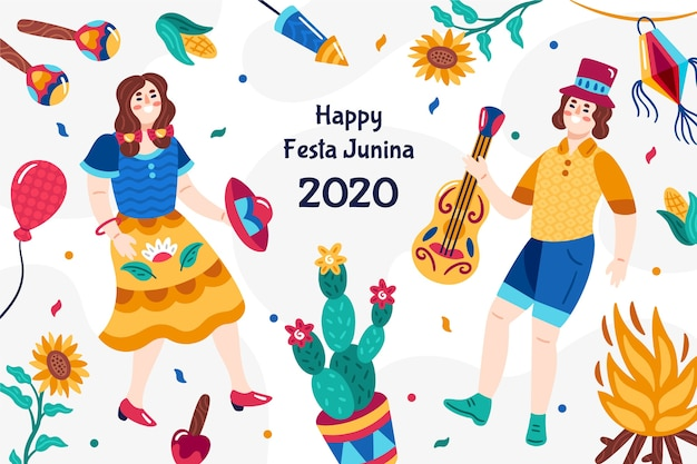 Design festa junina dessiné à la main