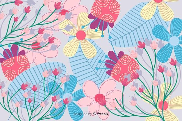 Design floral abstrait fond plat