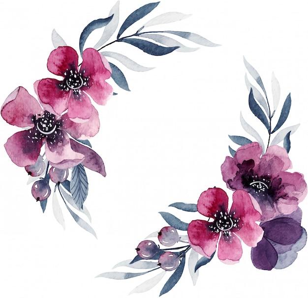 Design floral élégant, cadre rond, belle couronne. illustration aquarelle peinte à la main, isolée sur fond blanc