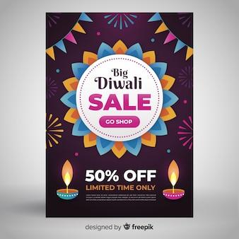 Design floral de modèle de flyer vente diwali plat