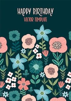 Design floral vector avec fleurs mignonnes.
