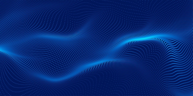 Design de fond bleu particules 3d