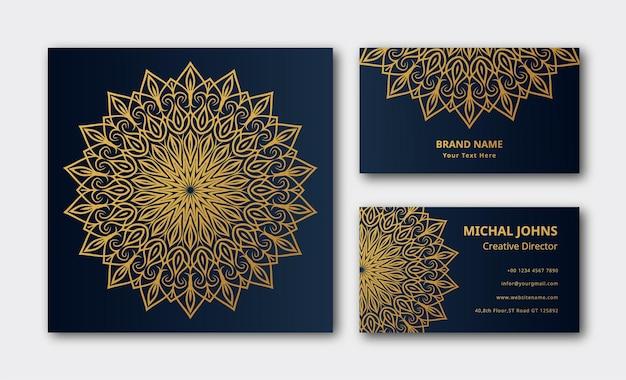 Design de fond de carte de visite de luxe mandala