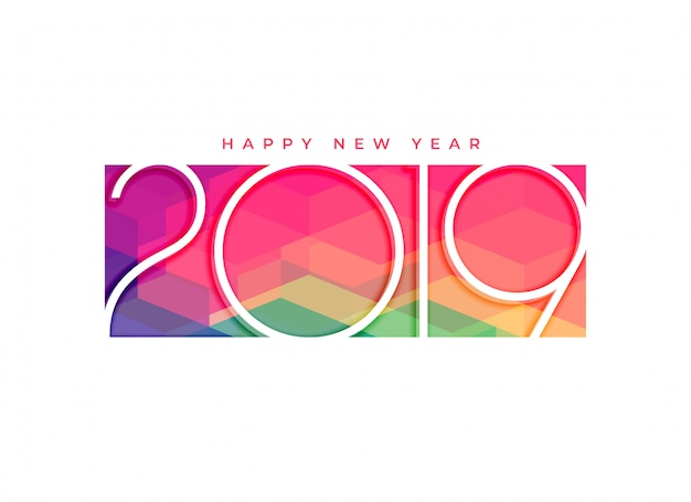 Design de fond coloré 2019 bonne année