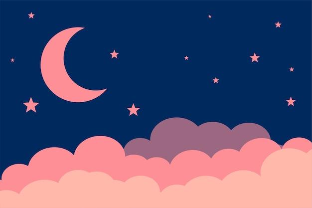 Design de fond étoiles de lune de style plat et nuages