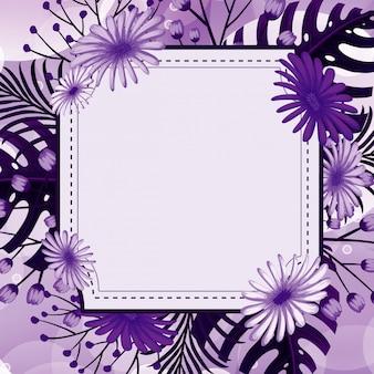 Design de fond avec des fleurs violettes