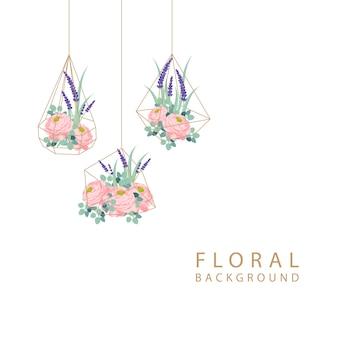 Design de fond floral avec des fleurs de renoncule et de lavande.