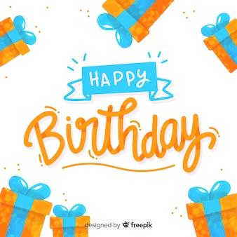 Design de fond lettrage joyeux anniversaire