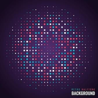 Design de fond linéaire de demi-teinte géométrique rétro coloré moderne