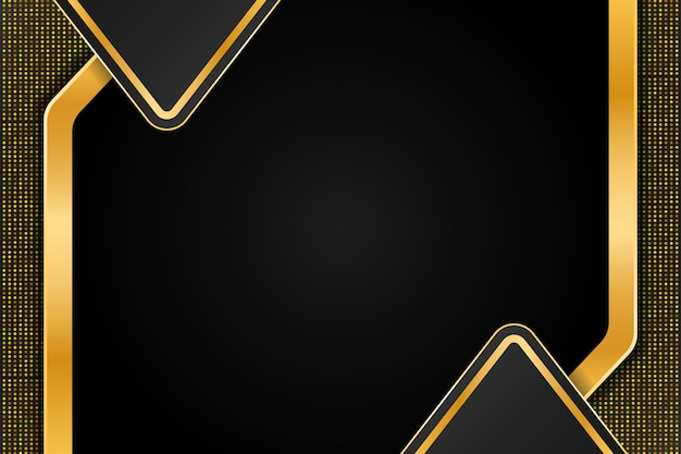 Design de fond de luxe doré avec double demi-triangle et décoration de points abstraits dorés