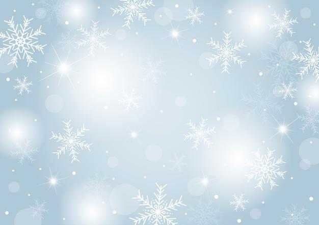 Design de fond de noël de flocon de neige blanche et neige