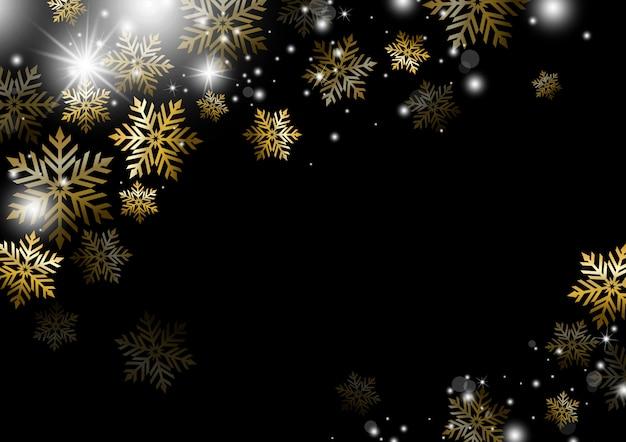 Design de fond de noël de la saison d'hiver de flocon de neige d'or