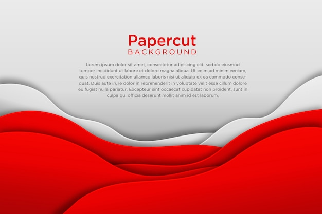 Design de fond ondulé papercut blanc rouge moderne