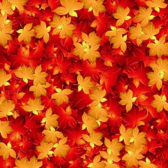Design de fond sans couture avec des feuilles rouges et jaunes
