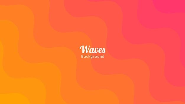 Design de fond de vagues roses et oranges colorées