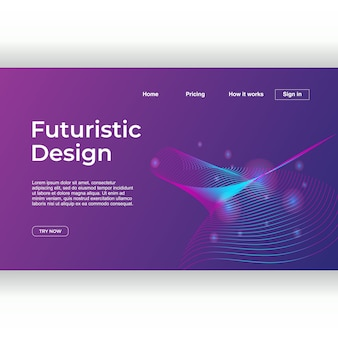 Design futuriste abstrait pour modèle de page de destination