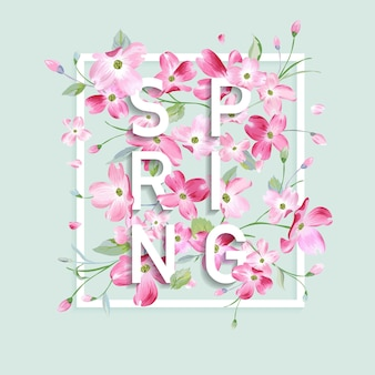 Design graphique printanier floral avec des fleurs de cerisier pour t-shirt, imprimés de mode