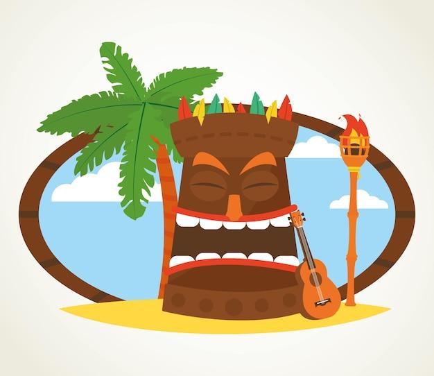 Design hawaïen avec masques tiki, paume et guitare