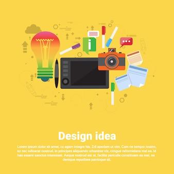 Design idea graphic designer icône de dessin web banner flat